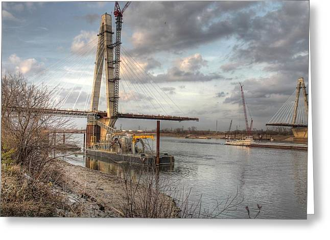 Stan Musial Veterans Memorial Bridge Mississippi River Greeting Card by Jane Linders