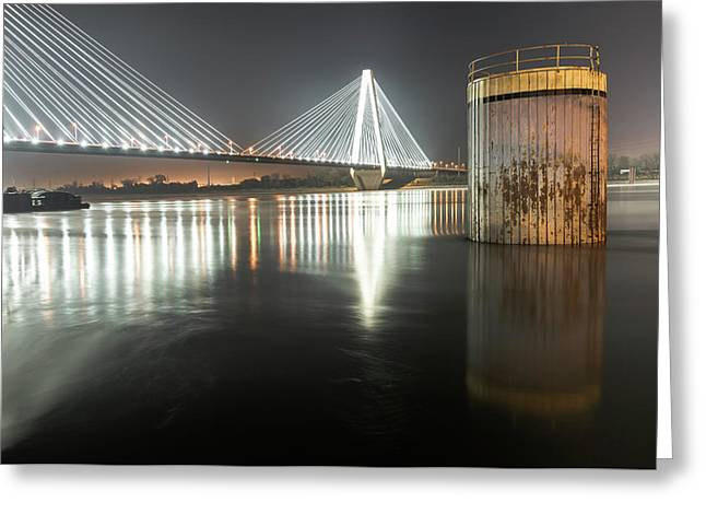 Stan Musial Veterans Memorial Bridge At Night - St. Louis Missouri Greeting Card by Gregory Ballos