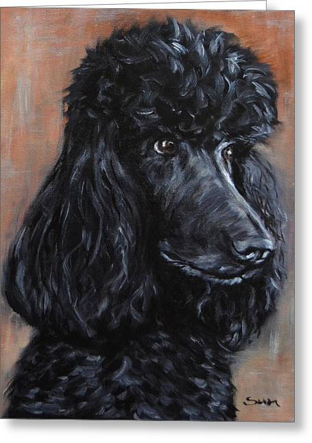 Standard Poodle Dog Painting Greeting Card by Sun Sohovich