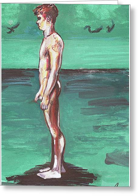 Greeting Card featuring the painting Standig On A Cold Beach With Hesitation  by Rene Capone