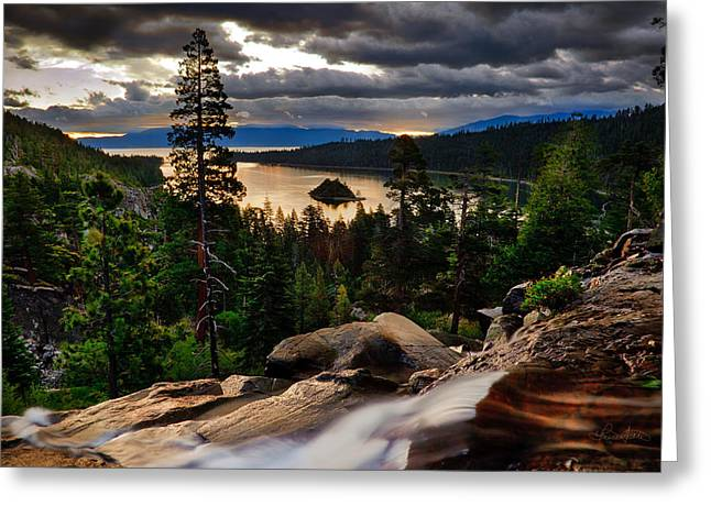 Standing At Eagle Falls Greeting Card by Renee Sullivan