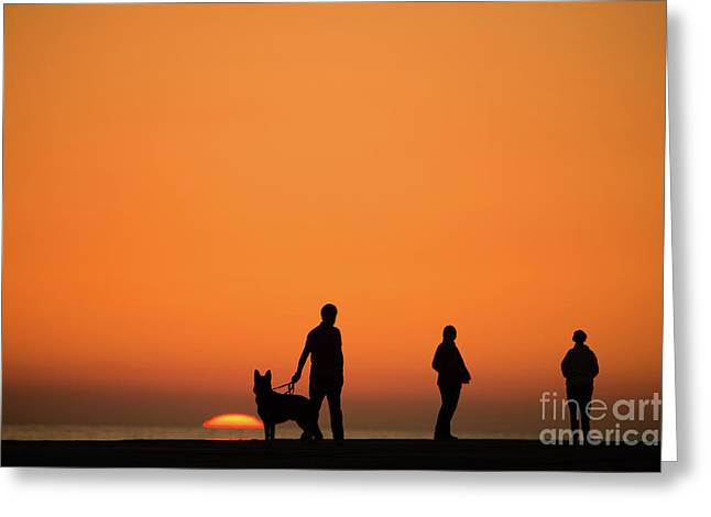 Standing At Sunset Greeting Card