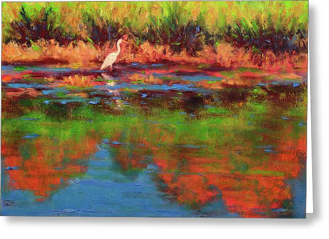 Langan Lake Heron I Greeting Card