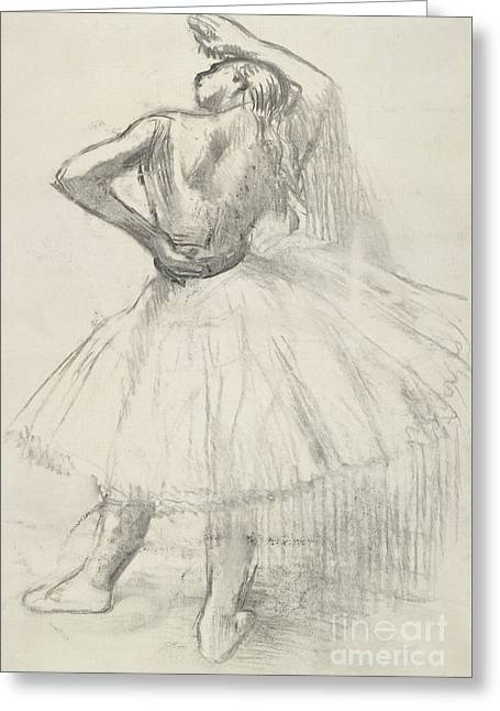 Standing Dancer, Right Arm Raised Greeting Card by Edgar Degas