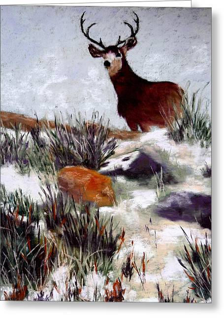 Greeting Card featuring the painting Standing Guard by Nancy Jolley