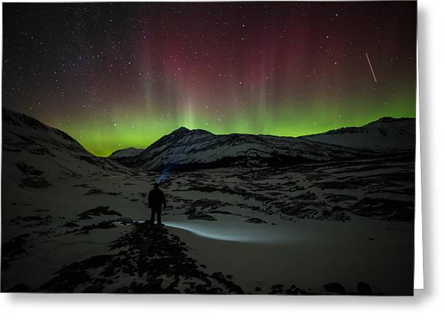 Standing In Awe Of The Auroras Greeting Card by Craig Brown