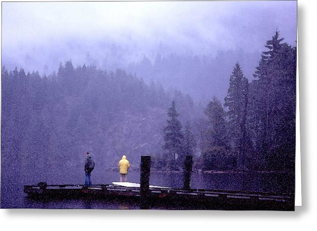 Greeting Card featuring the photograph Standing In The Mist 2 Wc by Lyle Crump