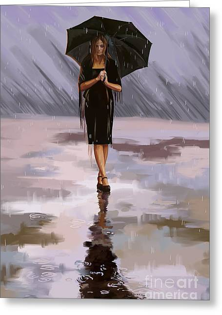 Standing-in-the-rain Greeting Card