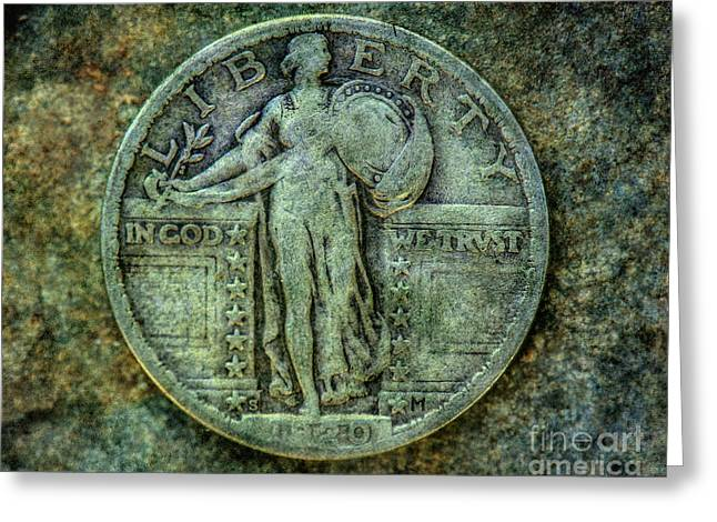Greeting Card featuring the digital art Standing Libery Quarter Obverse by Randy Steele