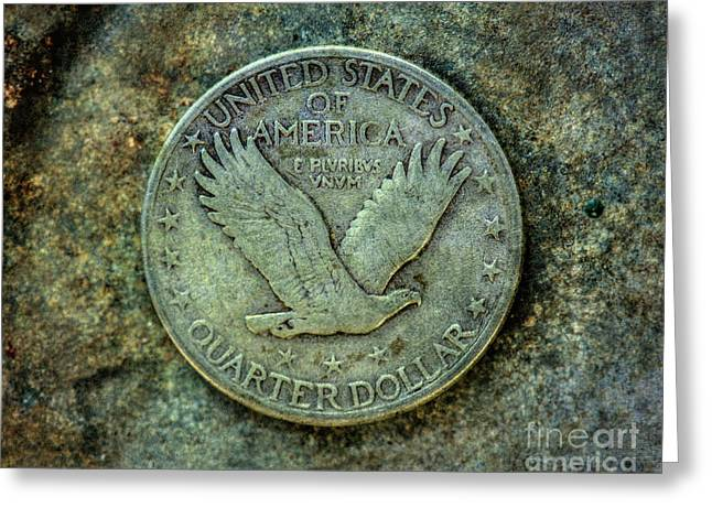 Greeting Card featuring the digital art Standing Libery Quarter Reverse by Randy Steele