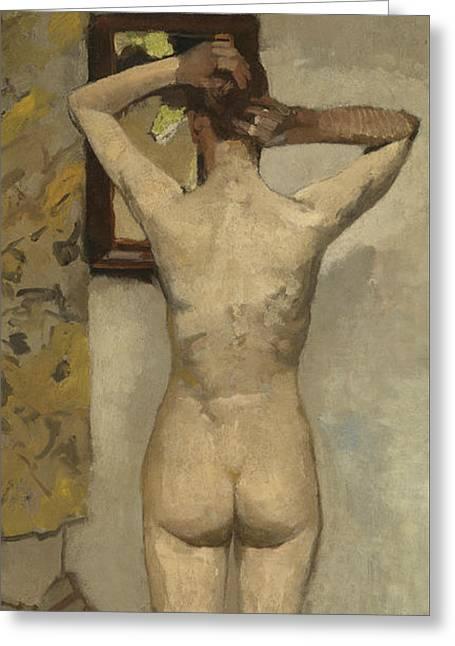 Standing Nude Greeting Card by George Hendrik Breitner