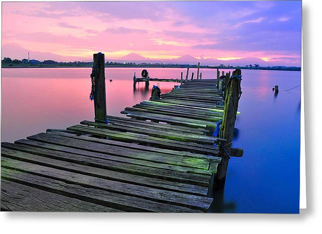 Standing On A Wooden Bridge Greeting Card