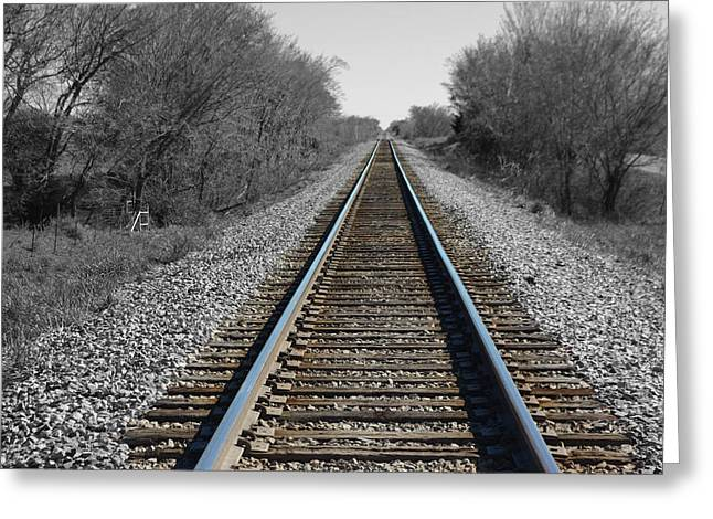 Standing On The Tracks Greeting Card