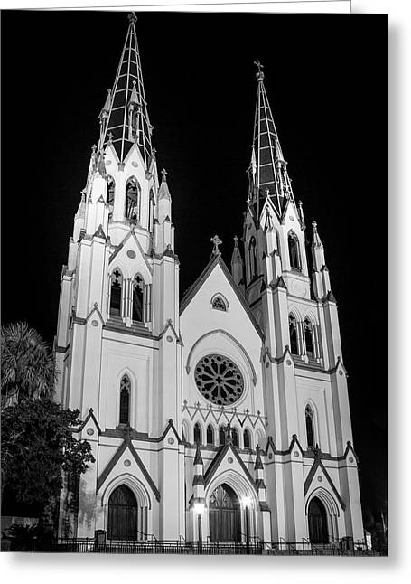 Standing Tal B Wl Cathedral Of St John The Baptist Historic Savannah Georgia Art Greeting Card