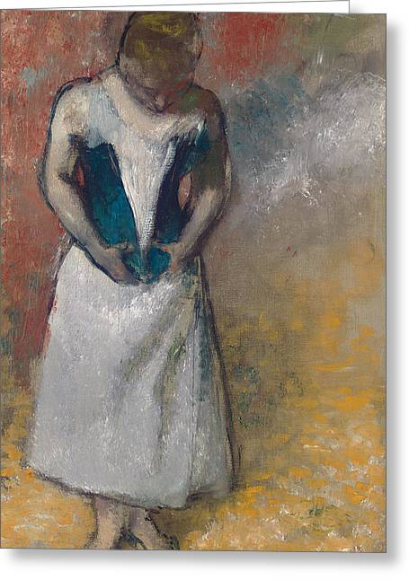Standing Woman Seen From The Front, Clasping Her Corset Greeting Card by Edgar Degas