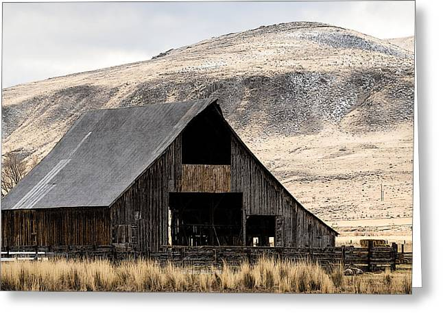 Standish Barn In Winter Greeting Card by The Couso Collection
