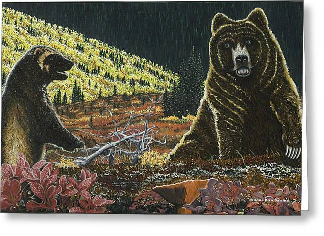 Standoff At Wolverine Ridge Greeting Card by Dan Devine