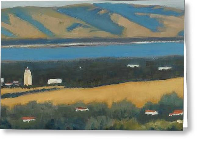 Greeting Card featuring the painting Stanford By The Bay by Gary Coleman