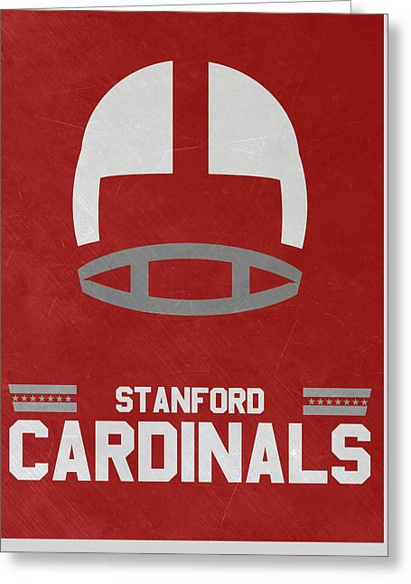 Stanford Cardinals Vintage Football Art Greeting Card by Joe Hamilton