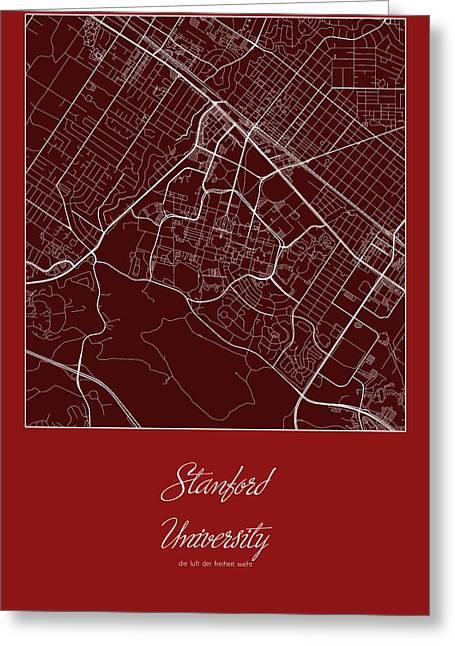 Stanford Street Map - Stanford University Stanford Map Greeting Card by Jurq Studio