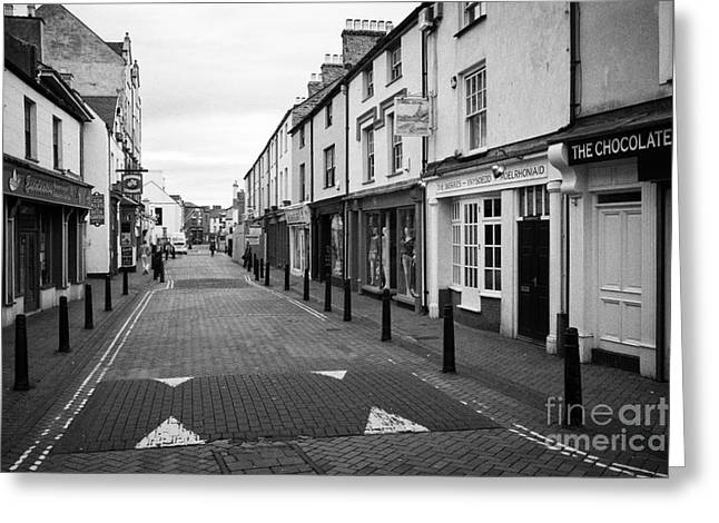 stanley street Holyhead town centre Anglesey Wales UK Greeting Card by Joe Fox