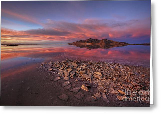 Sunset At A Favorite Spot On The Great Salt Lake Greeting Card by Spencer Baugh