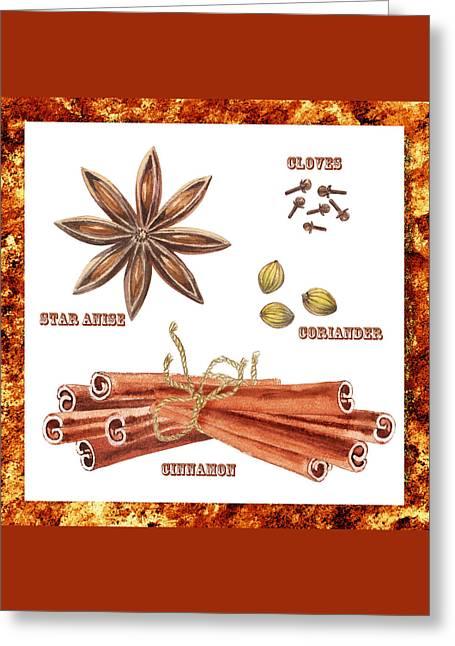 Star Anise Cloves Coriander Cinnamon Greeting Card