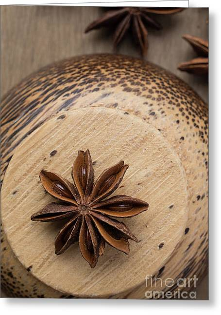 Star Anise On Wooden Bowl Greeting Card by Edward Fielding