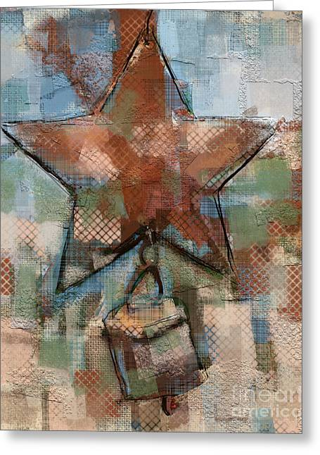 Star Bell Greeting Card by Carrie Joy Byrnes