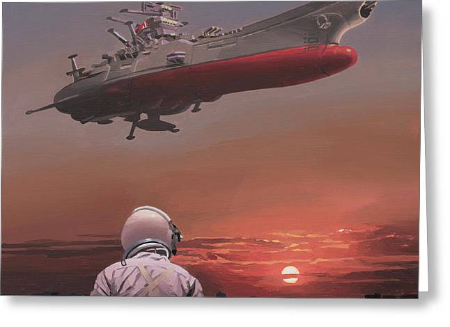 Greeting Card featuring the painting Star Blazers by Scott Listfield