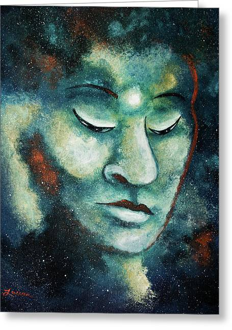 Star Buddha Of Teal Tranquility Greeting Card
