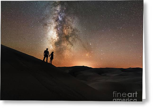 Star Crossed Lovers At Night Greeting Card by Michael Ver Sprill