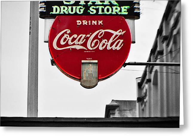 Star Drug Store Greeting Card by Scott Pellegrin