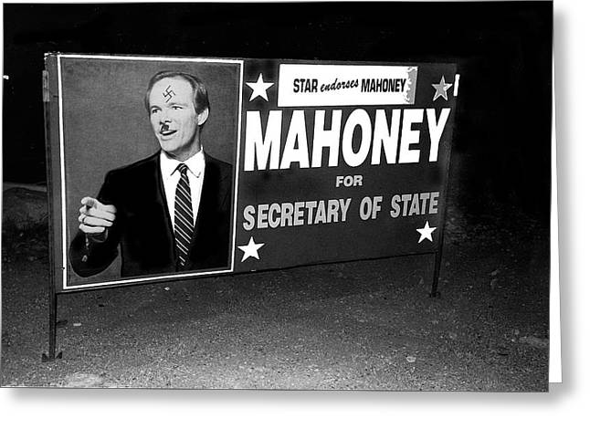 Star Endorses Mahoney Poster Defaced With Swastika Tucson Arizona Greeting Card by David Lee Guss