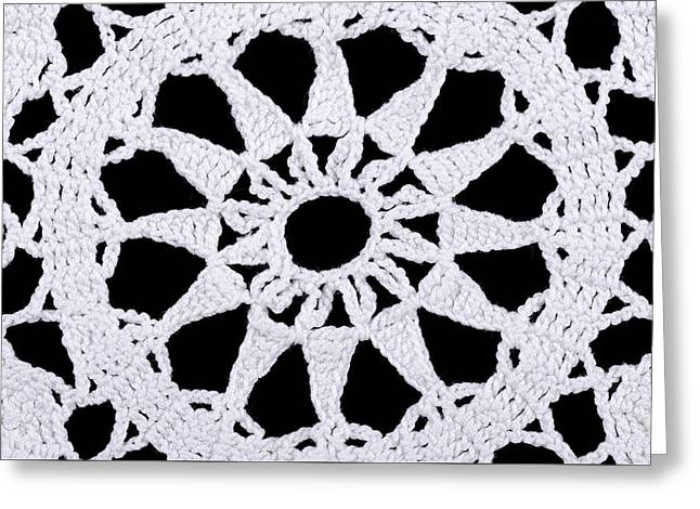Star In A White Crocheted Doily Greeting Card