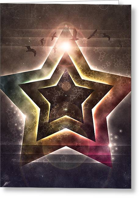 Greeting Card featuring the digital art Star Lights by Phil Perkins