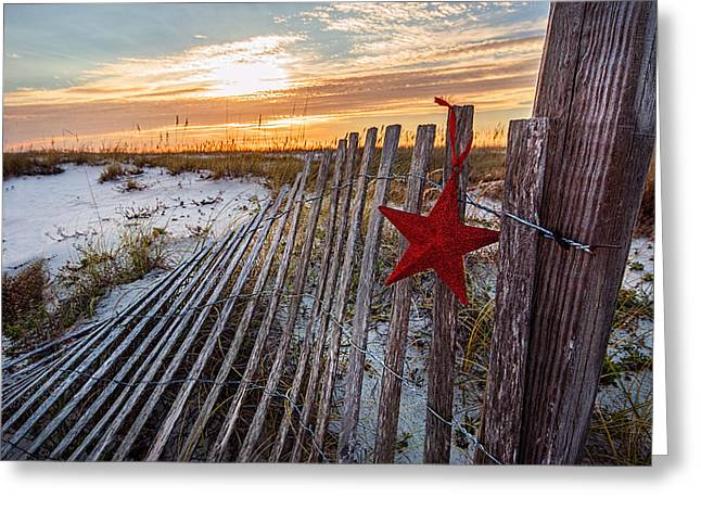 Star On Fence  Greeting Card
