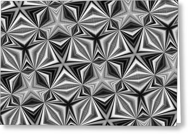 Star Pattern Black And White By Kaye Menner Greeting Card by Kaye Menner
