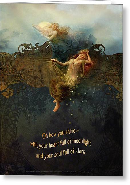 Star Sisters Greeting Card by Silas Toball