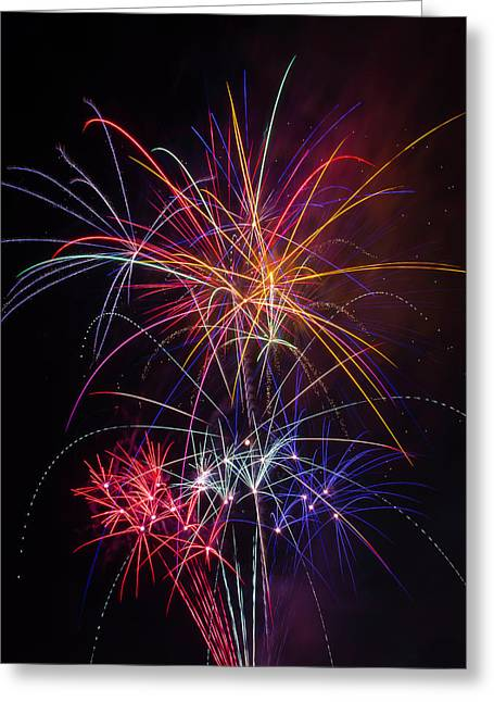 Star Spangled Fireworks Greeting Card by Garry Gay