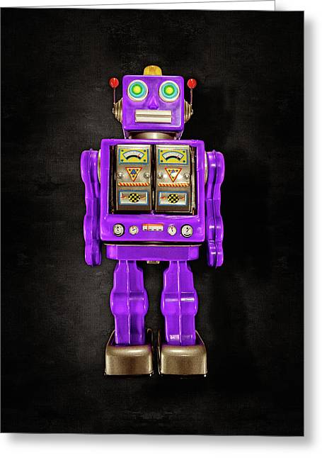 Greeting Card featuring the photograph Star Strider Robot Purple On Black by YoPedro