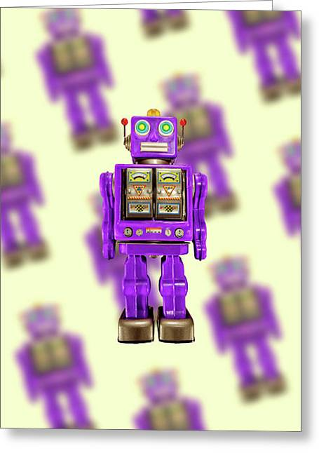 Star Strider Robot Purple Pattern Greeting Card by YoPedro