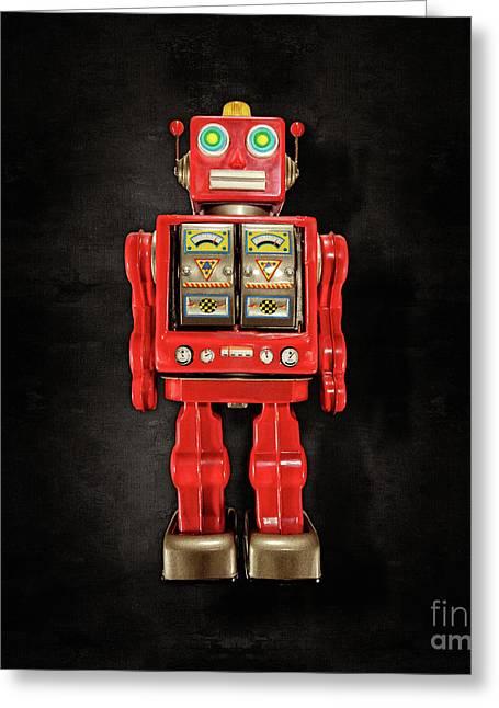 Star Strider Robot Red On Black Greeting Card by YoPedro