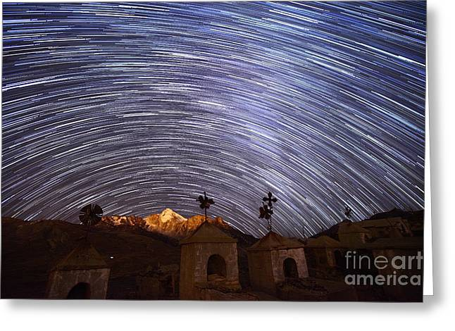 Star Trails Above Milluni Cemetery Bolivia Greeting Card by James Brunker
