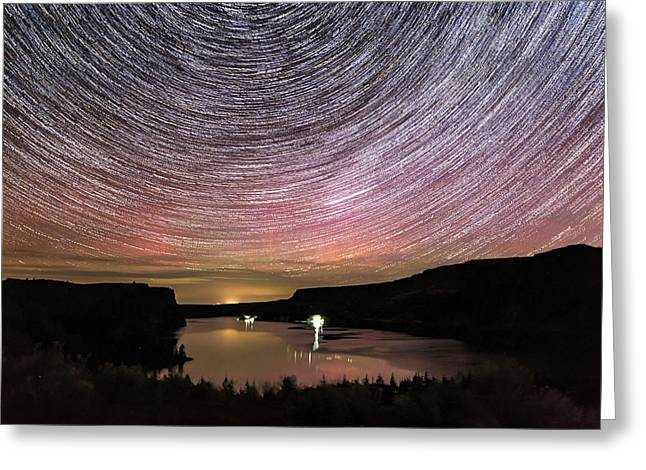 Greeting Card featuring the photograph Star Trails And Aurora At Billy Chinook by Cat Connor