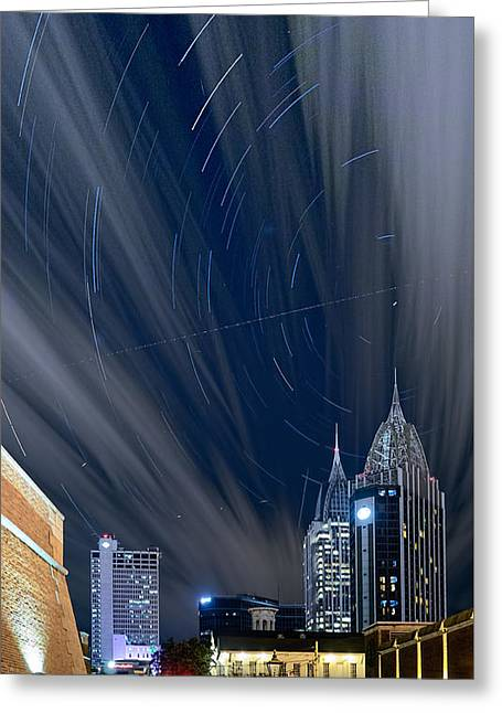 Star Trails And City Lights Greeting Card