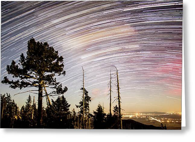 Star Trails At Fort Grant Greeting Card
