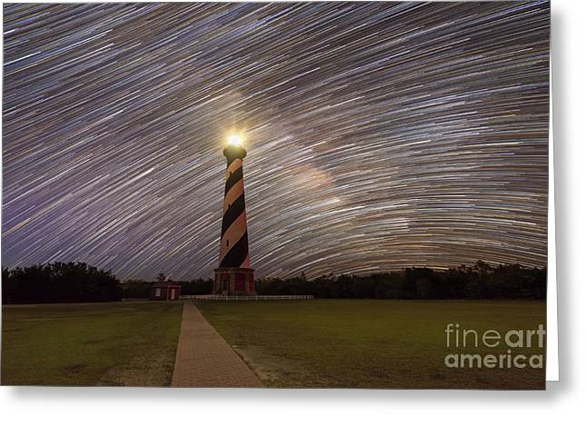Star Trails Behind Cape Hatteras Light  Greeting Card