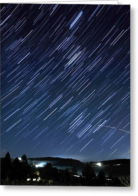 Star Trails Long Exposure At Night Greeting Card by Evan Sharboneau