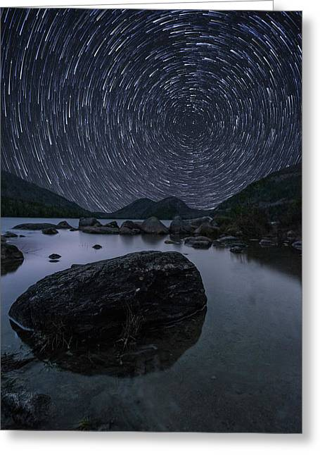 Star Trails Over Jordan Pond Greeting Card